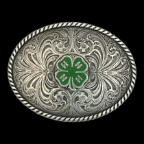 4-H Emblem Classic Antiqued Attitude Belt Buckle (61306)