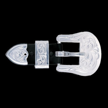 "5\/8"" Clear Edge Engraved Silver Buckle Set (BU32)"