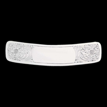 """6 1\/4\"""" Clear Edge Engraved Silver Cantle Plate (CP22)"""