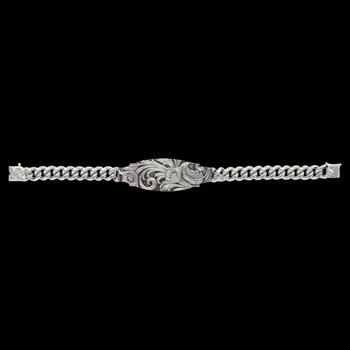 A Glimpse of Leathercut Floral Scroll ID Style Bracelet (BC2897)