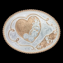 A Heart of Rose Gold Western Belt Buckle (11400RG)