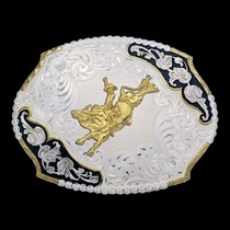 Antique Leaves Western Belt Buckle with Bull Rider (3810-528-BK)