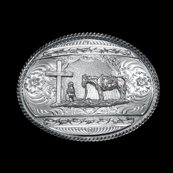 Antiqued Barbed Edge Western Belt Buckle with Christian Cowboy (6135RTS-731)