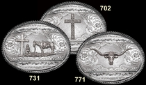 Antiqued Barbed Silver Buckle by Montana Silversmiths