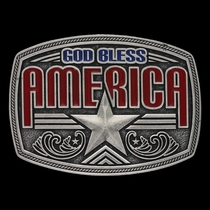 Antiqued God Bless America Star Attitude Buckle (A579S)