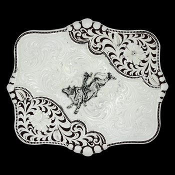 Antiqued Leathercut Blooms Buckle with Bull Rider (16400D-631)