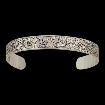 Antiqued Montana Classic Engraved Narrow Cuff Bracelet  (BC856RTS)