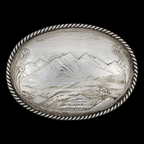 Antiqued Mountain Scene Belt Buckle (9820RTSNF)