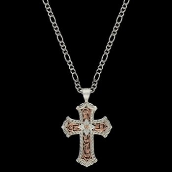 Antiqued Rose Gold Scalloped Cross Necklace (NC1019RGRTS)
