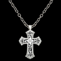 Antiqued Scalloped Cross Necklace (NC1019)