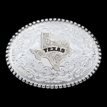 Antiqued Silver 6189 Series Texas State Western Belt Buckle (6189SV-610TX)