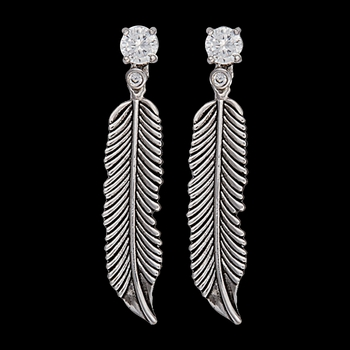 Antiqued Silver Crow Feathers on Crystal Stud Earrings (ER1852)