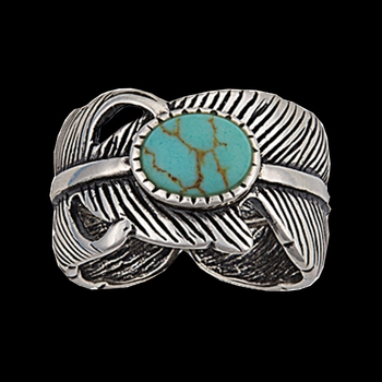 Antiqued Silver Plume Feather and Turquoise Ring