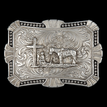 Antiqued Trailblazer Buckle with Christian Cowboy (22718RTS-731)