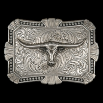 Antiqued Trailblazer Buckle with Longhorn (22718RTS-767)