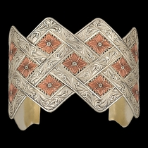 Antiqued Two Tone Copper Blossom Weave Wide Cuff Bracelet  (BC2209SC)