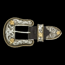 "Antiqued Two Tone Filigree 1.5"" 3 Piece Belt Buckle Set (61565)"