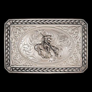Antiqued Wheat Trim Portrait Buckle with End of the Trail (27200D-34)