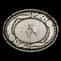 Antiqued Wind Dancer Buckle with End of the Trail Figure (6114-34)