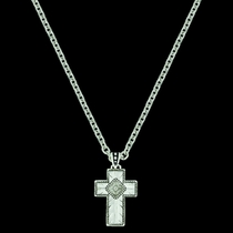 Banded Feathered Cross Necklace (NC3588RTS)