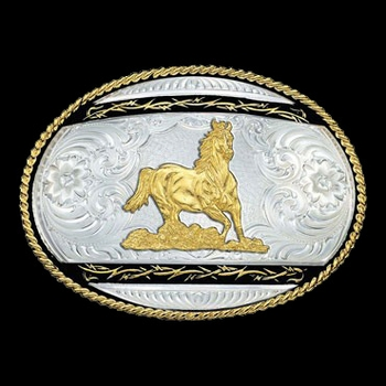 Barbed Edge on Black Western Belt Buckle with Galloping Horse (6135-463-BK)