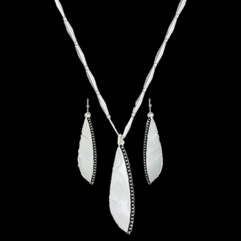 Beaded Plume Feather Jewelry Set (JS3282)