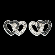 Black Crystal Double Heart Earrings (ER61505BK)