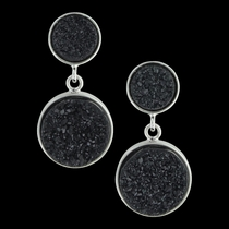Black Druzy Glimmer Earrings Attitude Jewelry (AER3459)