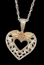 Black Hills Gold Filigree Heart & Rose Necklace | Landstrom's 03081-SS