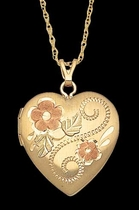Black Hills Gold Heart Locket #3  - Landstrom's 03321