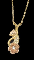 Black Hills Gold Rose Pendant with Diamond - Landstrom's 03085X