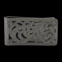 Black Nickel Square Filigree Money Clip (MCL1BN)