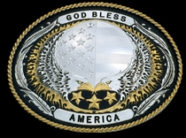 Bless America Classic Buckle by Montana Silversmiths