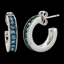 Blue Starlight Hoop Earrings (ER3436BL)