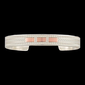 Bright CrossCut Threaded Ribbon Cuff Bracelet (BC2630SC)