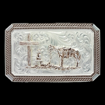 Brown Rope and Pinpoints Buckle with Christian Cowboy (19815BRO-731)