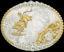 Bull Rider Figure Buckle by Montana Silversmiths