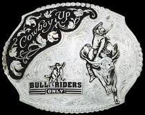 Bull Riders Only / Cowboy Up Belt Buckle | Montana Silversmiths