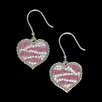 Candied Collection Hearts with Pink Zebra Stripes Earrings (ER2230)