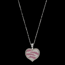 Candied Collection Hearts with Pink Zebra Stripes Necklace (NC2230)