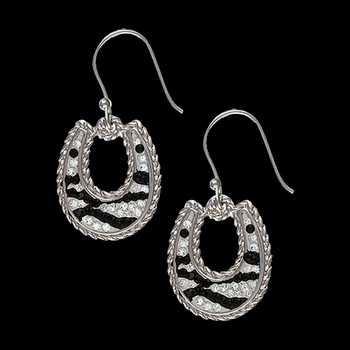 Candied Collection Horseshoes with Zebra Stripes Earrings (ER2229)