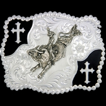 Christian Flourish Scallop Shape Belt Buckle with Bullrider (3611-528)