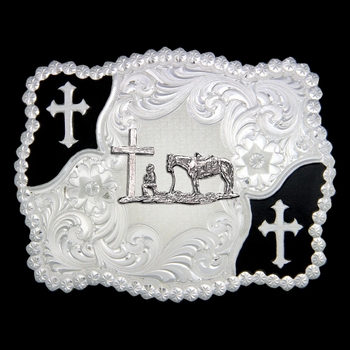 Christian Flourish Scallop Shape Belt Buckle with Christian Cowboy (3611-731M)