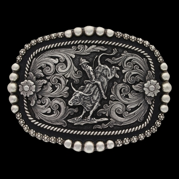 Classic Beads and Berries Curved Attitude Buckle with Bullrider (A591)