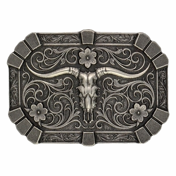 Classic Flourished Trim Attitude Buckle with Longhorn Skull (A425)