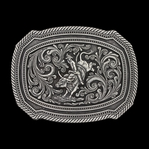 Classic Impressions Antiqued Twisted Rope and Double Pinpoints Attitude Buckle with Bull Rider (A598S)