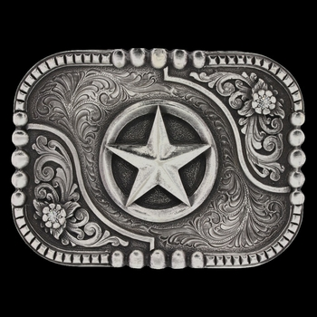 Classic Impressions Box and Bead Trim Attitude Buckle with Lone Star (A529S)
