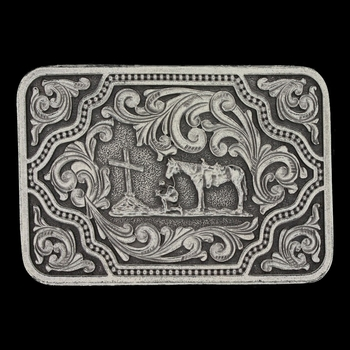 Classic Impressions Fancy Scroll Attitude Buckle with Christian Cowboy  (A625)