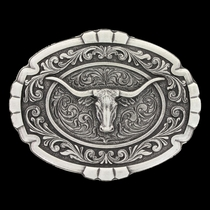 Classic Impressions Longhorn Cameo Portrait Oval Attitude Buckle (A616S)