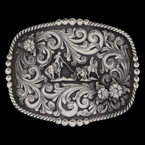 Classic Impressions Triple Flower with Team Roping Figure Attitude Buckle  (A524S)